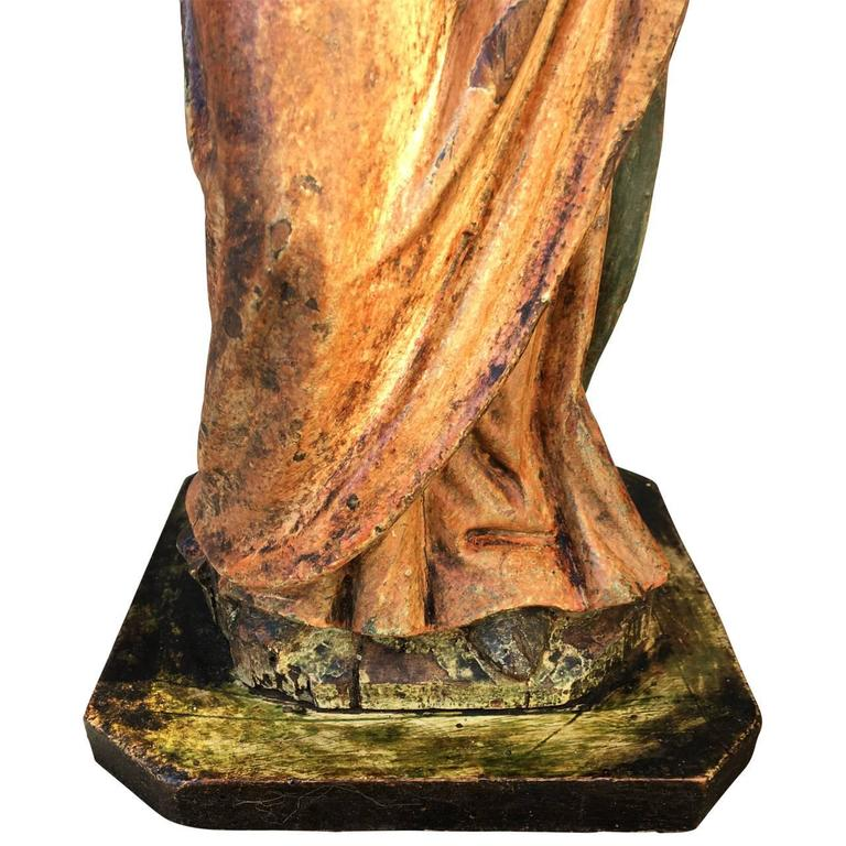 Painted Early 17th Century Sculpture  For Sale
