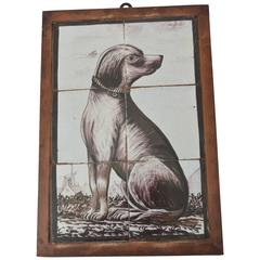 18th Century Delft Tile Picture of a Sitting Dog