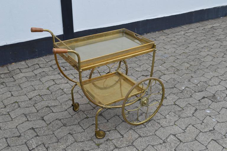 Mid-Century Modern Brass Bar Cart For Sale 3