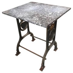 19th Century Cast Iron Marble-Top Bistro Table with Swedish Coat of Arms