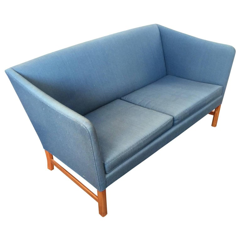 Ole Wanscher two persons sofa, on Cuban mahogany legs. Designed in 1960 and produced by A J Iversen, Denmark.