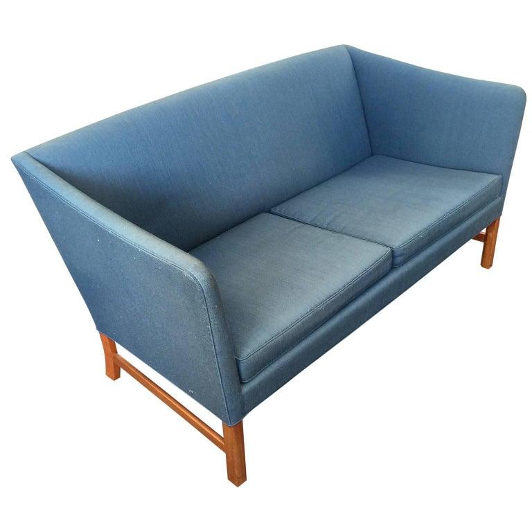 Ole Wanscher Sofa in Blue Linen Upholstery