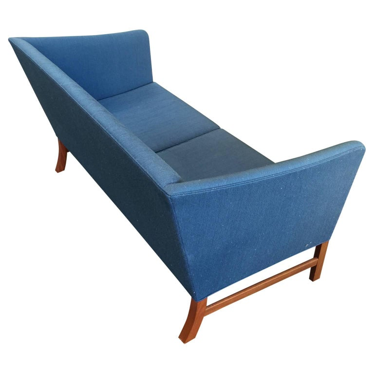 Mahogany Ole Wanscher Sofa in Blue Linen Upholstery For Sale