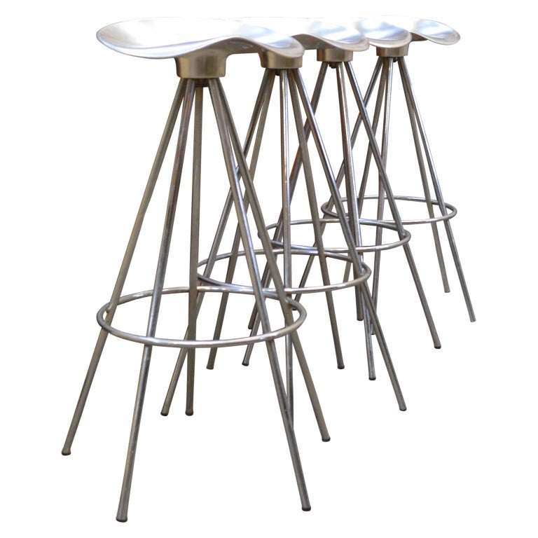 Four Chrome Jamaica Swivel Bar Stools By Pepe Cortes For