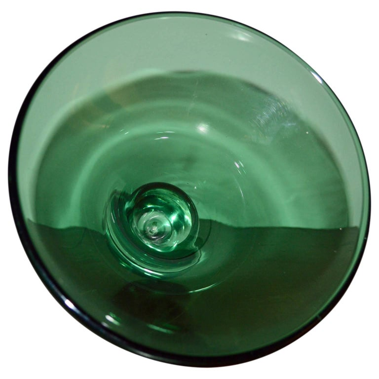 Mid-20th Century Italian Mid-Century Modern Green Murano Bowl For Sale