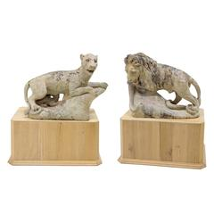 Terracotta Sculptures of Lion and Lioness, France, 19th Century