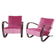 Pair of Halaballa Lounge Chairs, Czechoslovakia, circa 1930