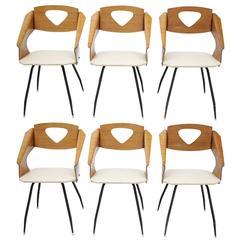 Six Chairs by Carlo Ratti, Italy, circa 1950
