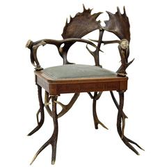 Rococo Style Antler Armchair, Germany, circa 1890