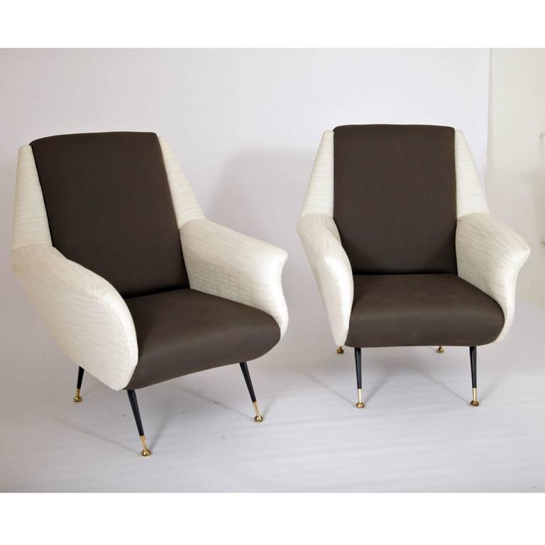 Mid-Century Modern Lounge Chairs, Italy, 1950s For Sale