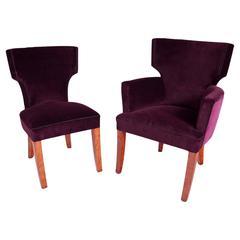 Mid-Century Armchair and Chair, France