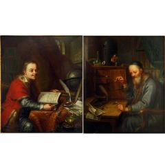 Pair of Scholar Portraits, Dated 1768