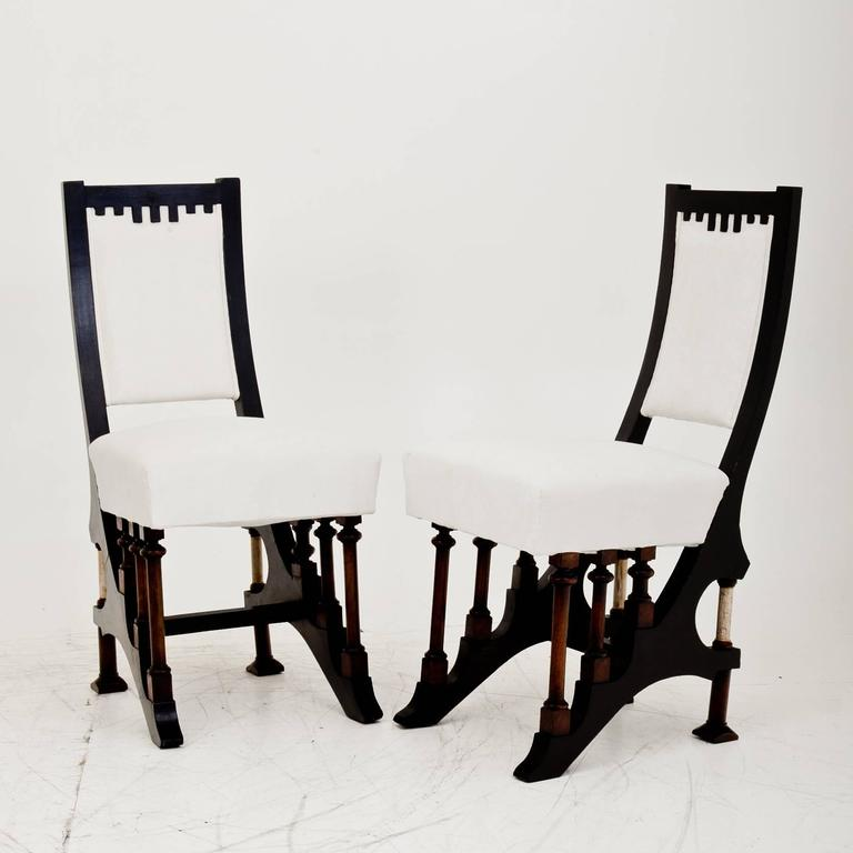Wood Art Nouveau Chairs in Carlo Bugatti Style, Italy, First Half of the 20th Century For Sale