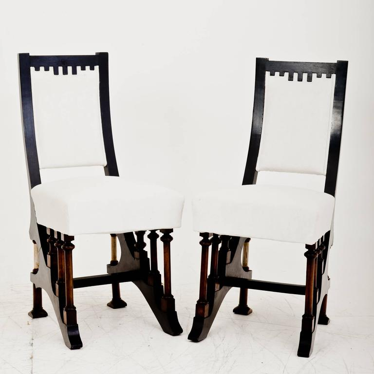 Art Nouveau Chairs in Carlo Bugatti Style, Italy, First Half of the 20th Century For Sale 2