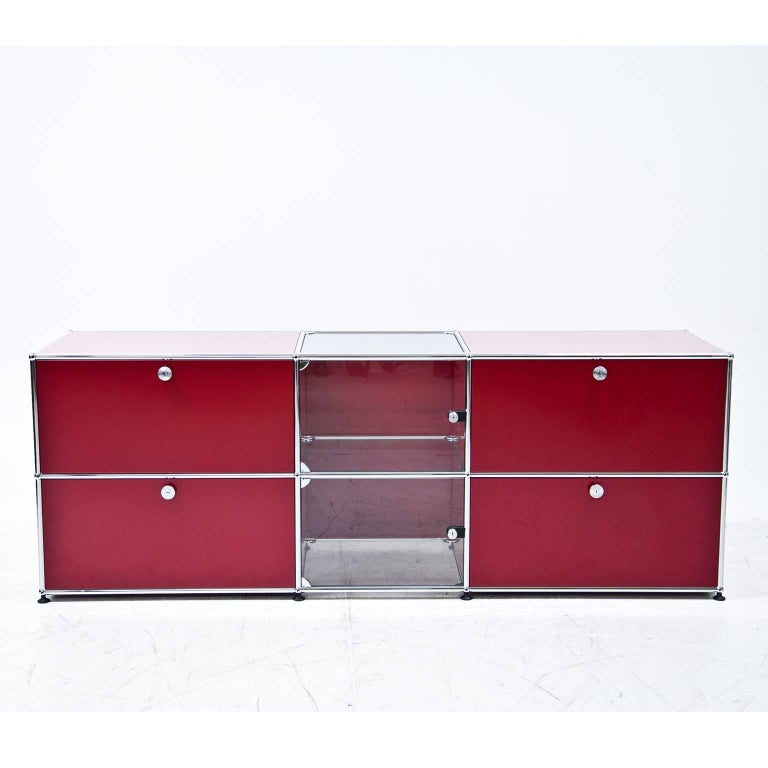 Red usm haller sideboard for sale at 1stdibs for Sideboard usm