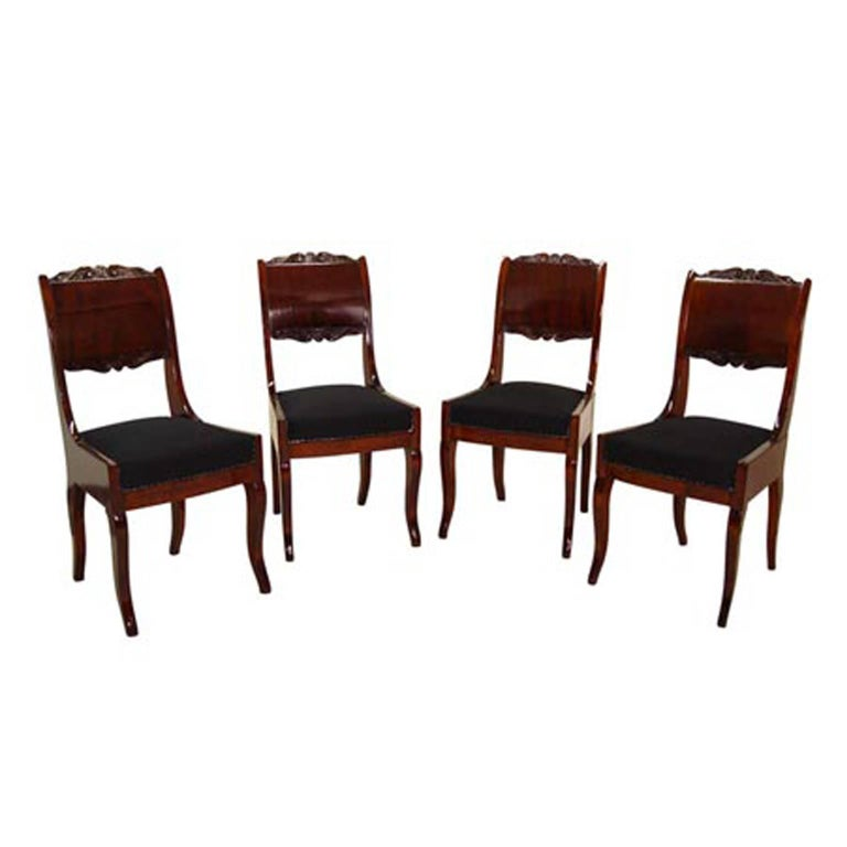 Biedermeier Dining Chairs, 19th Century For Sale