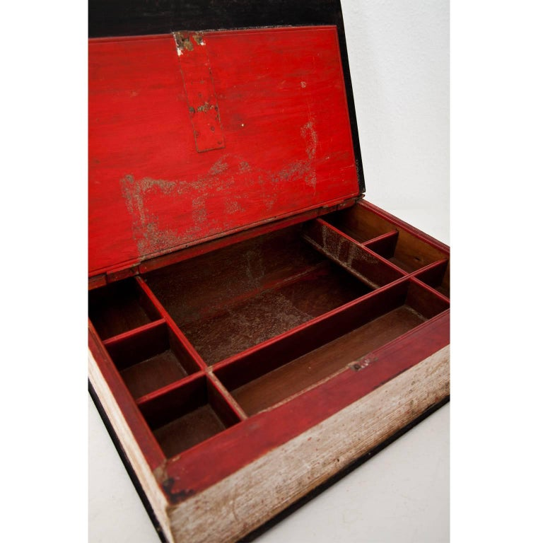 Wood Book-Shaped Jewelry Case, Prob. France, 19th Century For Sale