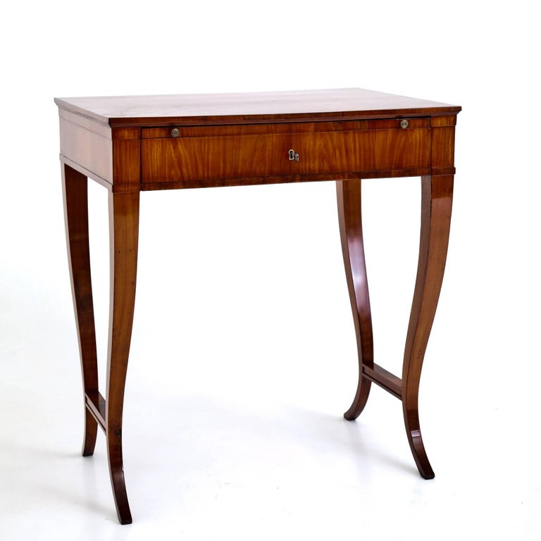 Elegant Biedermeier Writing Table Out Of Cherrywood Standing On Curved Legs With Connecting Stretchers