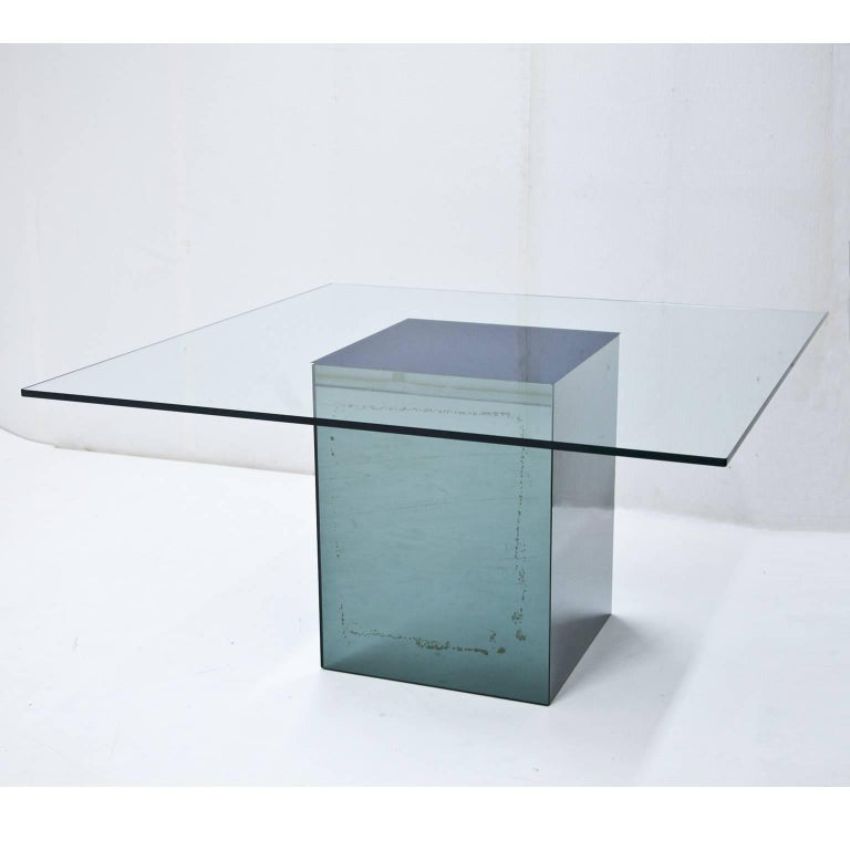 Modern Square Dining Table 'Blok' by Nanda Vigo for Acerbis, Italy, 1971 For Sale