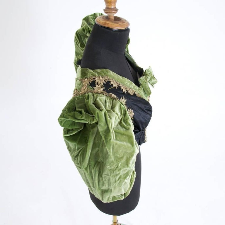 Victorian Silk and Suede Bodice, Germany, 1880s For Sale 4