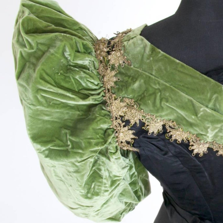 Victorian Silk and Suede Bodice, Germany, 1880s For Sale 3
