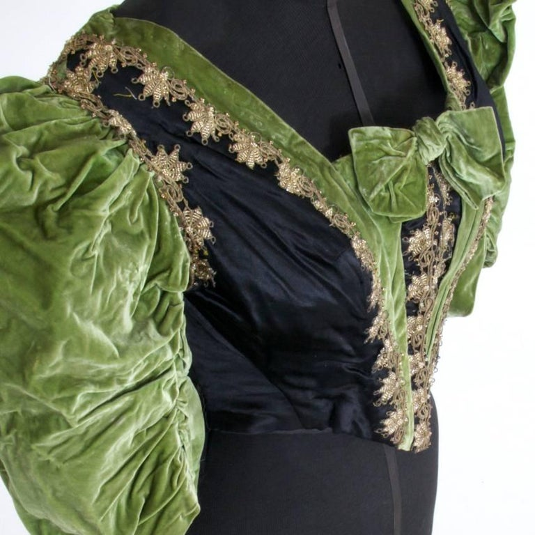 Late 19th Century Victorian Silk and Suede Bodice, Germany, 1880s For Sale