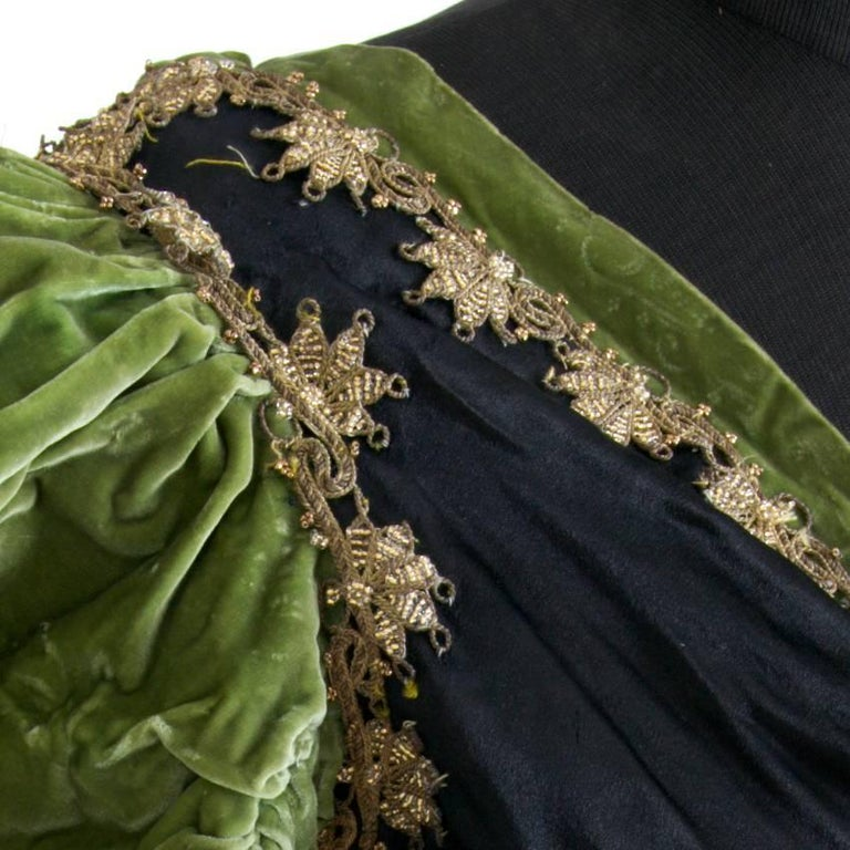 Victorian Silk and Suede Bodice, Germany, 1880s For Sale 1
