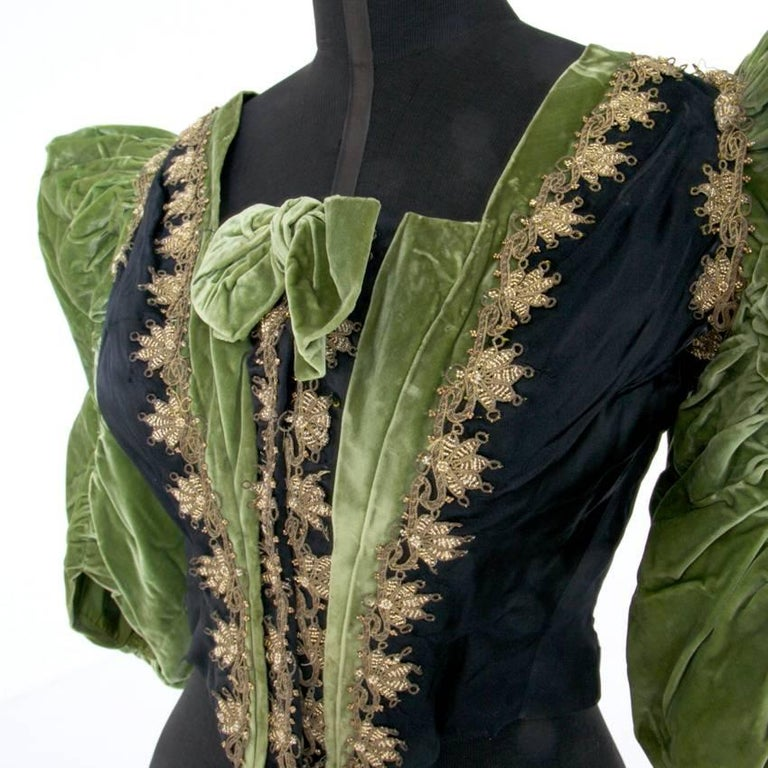 Late Victorian Victorian Silk and Suede Bodice, Germany, 1880s For Sale
