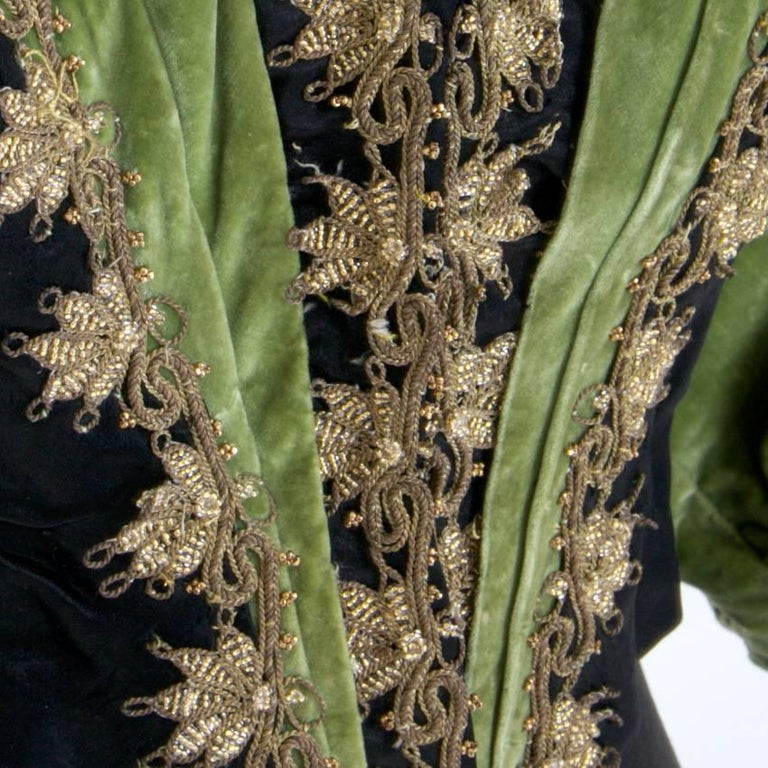 Victorian Silk and Suede Bodice, Germany, 1880s For Sale 2