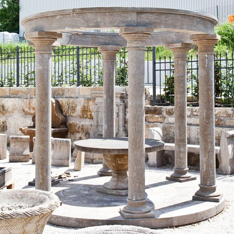 Large round pavilion with six smooth columns and a straight architrave in the style of a classical Monopteros.