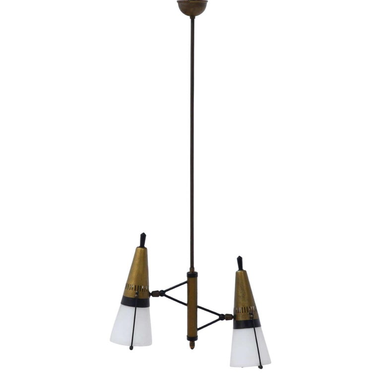 Pendant Light Attributed to Angelo Lelli for Arredoluce, Italy, Mid-20th Century