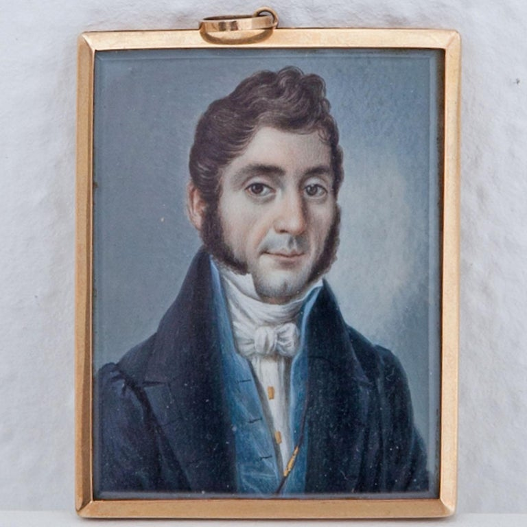 Miniature of a Gentleman of the Biedermeier Period, 19th Century In Good Condition For Sale In Greding, DE