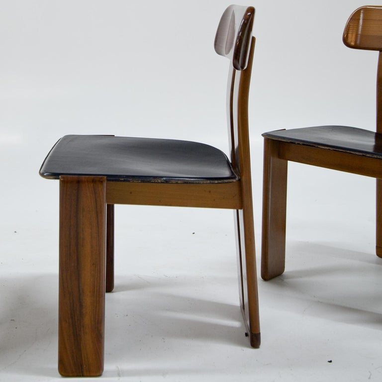 Leather Four Chairs, Attributed to Afra & Tobia Scarpa for Maxalto, Italy, 1970s For Sale