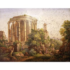 Micro-Mosaic by G. Rinaldi, Temple of Vesta and of Sibyl in Tivoli, circa 1810
