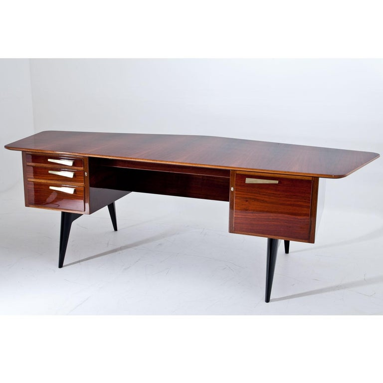 Brass Executive Desk by Hadar Schmidt, 1950s-1960s For Sale