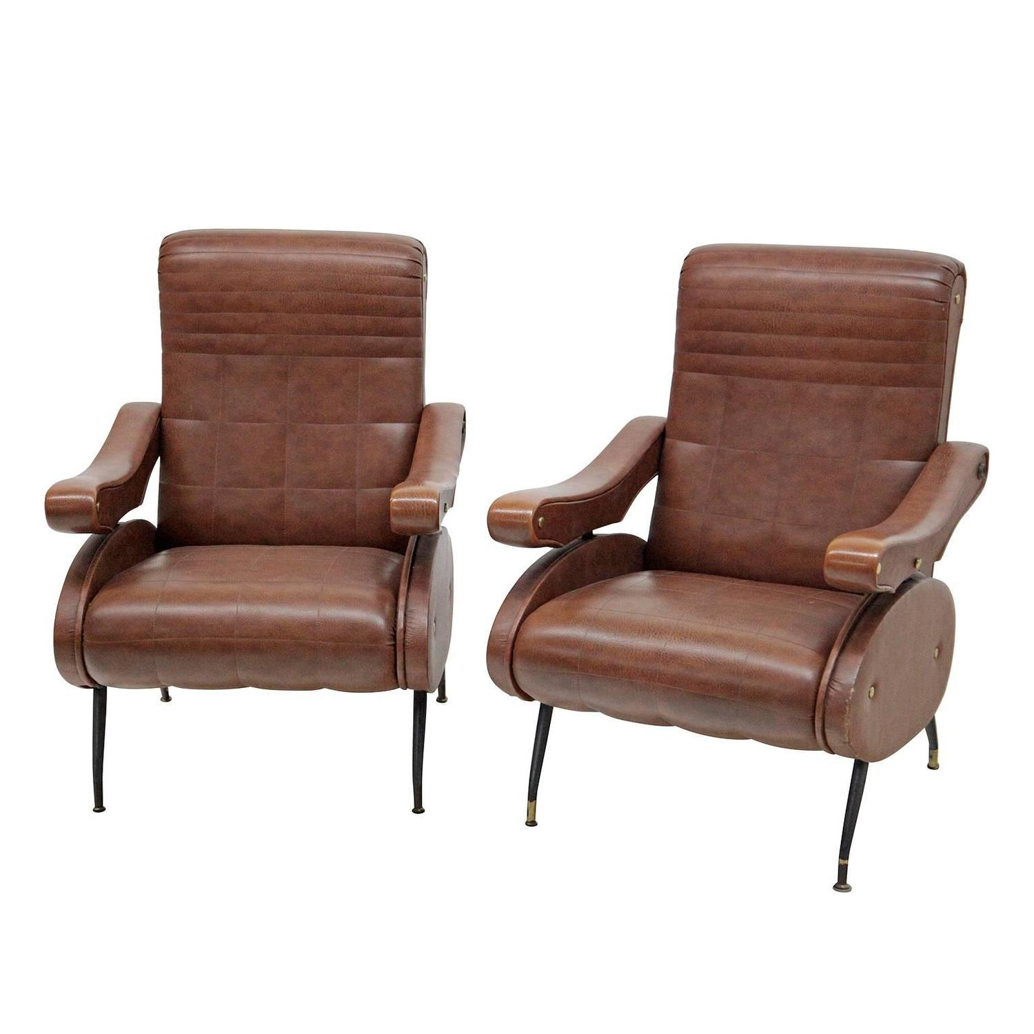 Pair of leather armchairs italy mid 20th century at 1stdibs for Mid 20th century furniture