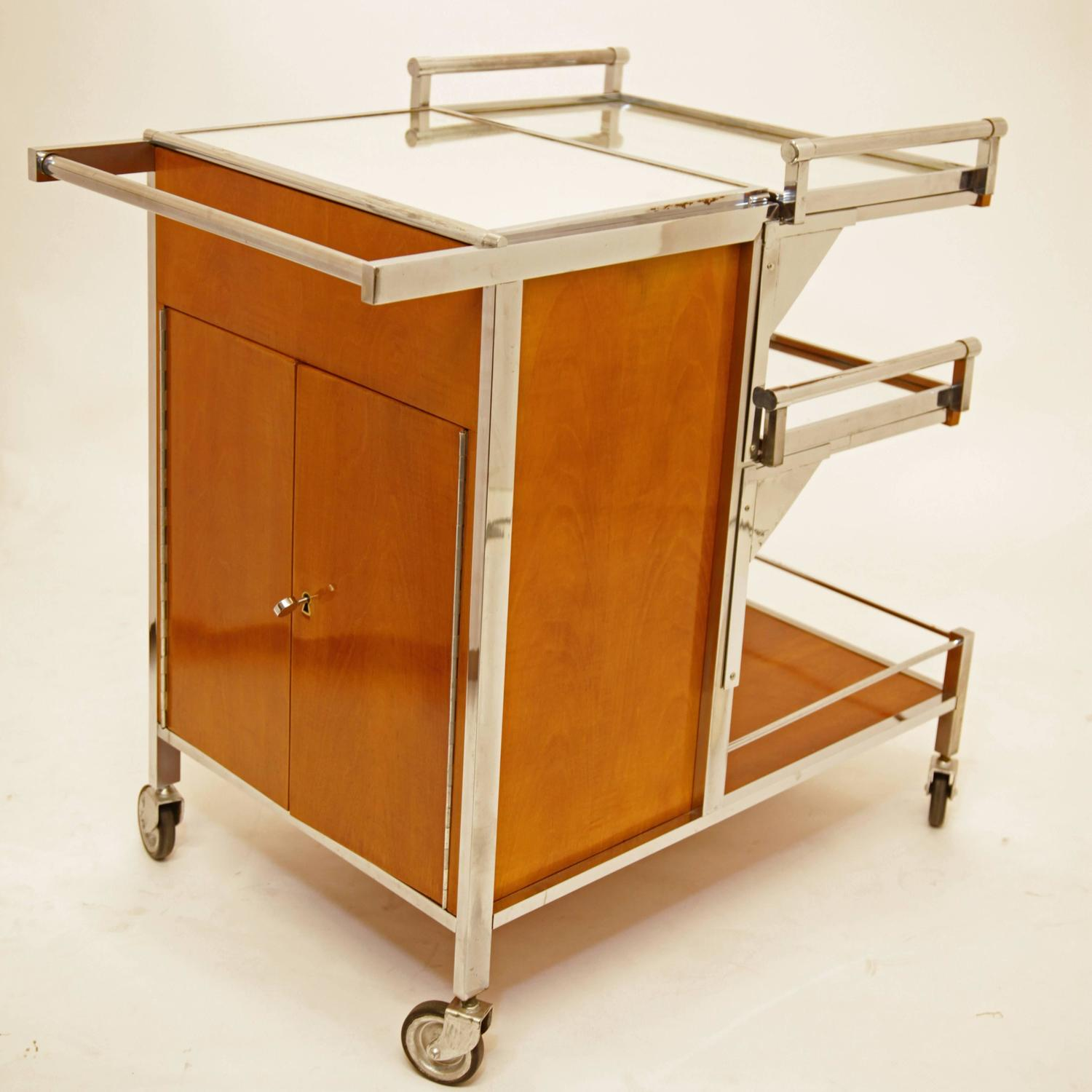 Art Deco Bar Cart By Jacques Adnet France Circa 1935 For