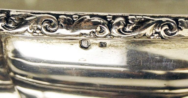 Glass Silver 800 Flower Bowl Jardiniere Vienna Diana Head Mark, circa 1900 For Sale