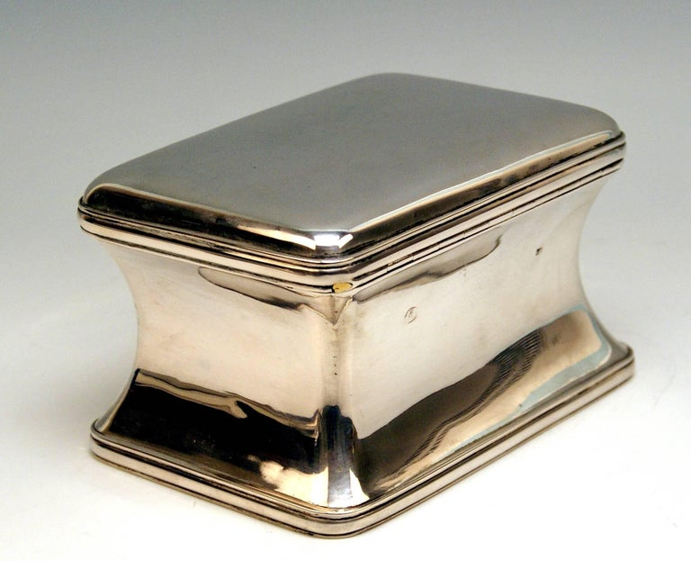 Mid-19th Century Silver 13 Lot Austrian Nice Biedermeier Sugar Box Chest Vienna Made 1849 For Sale