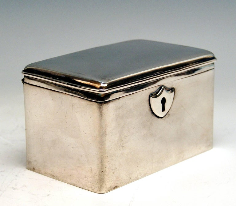 Austrian Biedermeier Silver Sugar Box   This sugar box / chest was made during  FAMOUS VIENNESE BIEDERMEIER  PERIOD  (1839).            Excellently manufactured sugar box / sugar chest of rectangular shape (with straight walls and slightly rounded