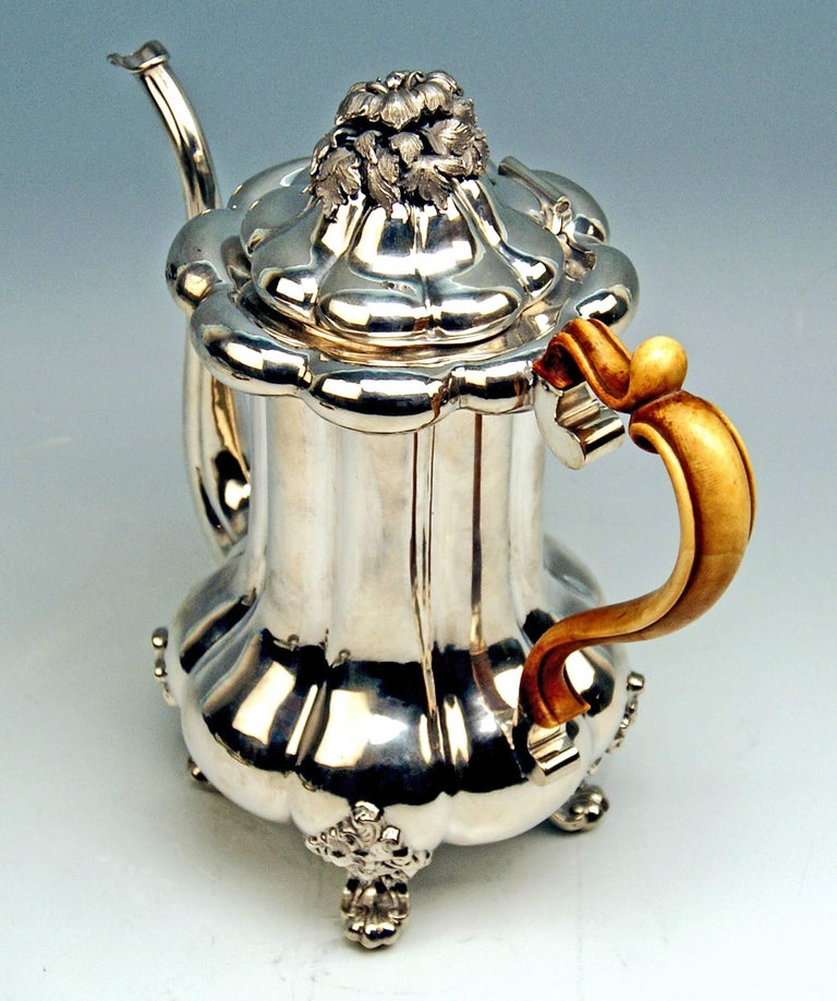 Austrian Late Biedermeier Silver 812.5 tall coffee pot