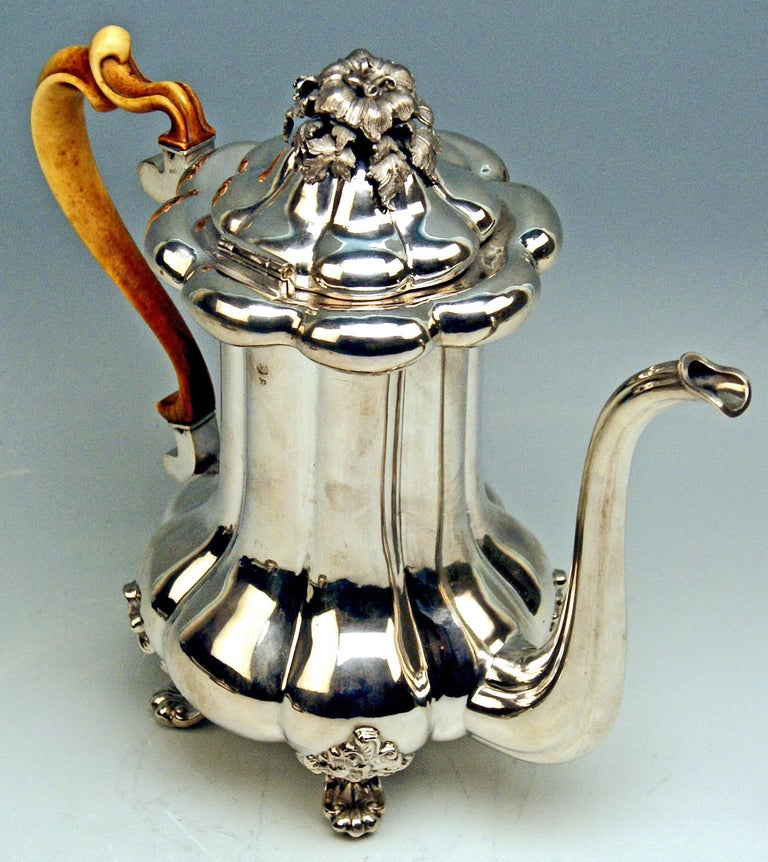 Early Victorian Silver 13 Lot Austrian Coffee Pot Vintage Vienna Karl Paltscho, 1853 For Sale