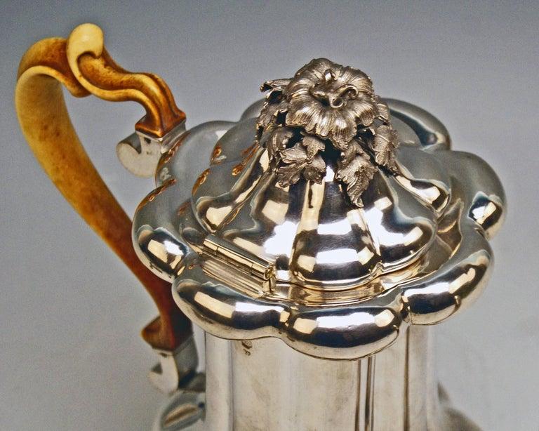 Silver 13 Lot Austrian Coffee Pot Vintage Vienna Karl Paltscho, 1853 In Excellent Condition For Sale In Vienna, AT