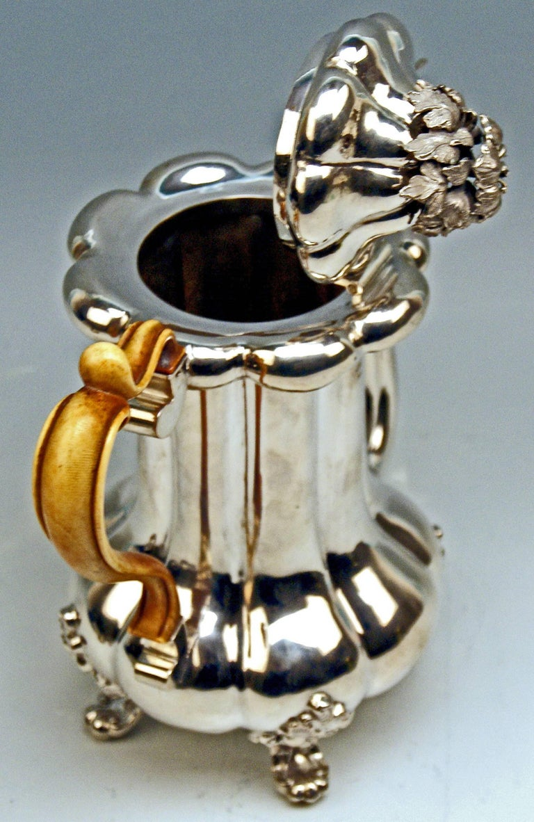 Mid-19th Century Silver 13 Lot Austrian Coffee Pot Vintage Vienna Karl Paltscho, 1853 For Sale