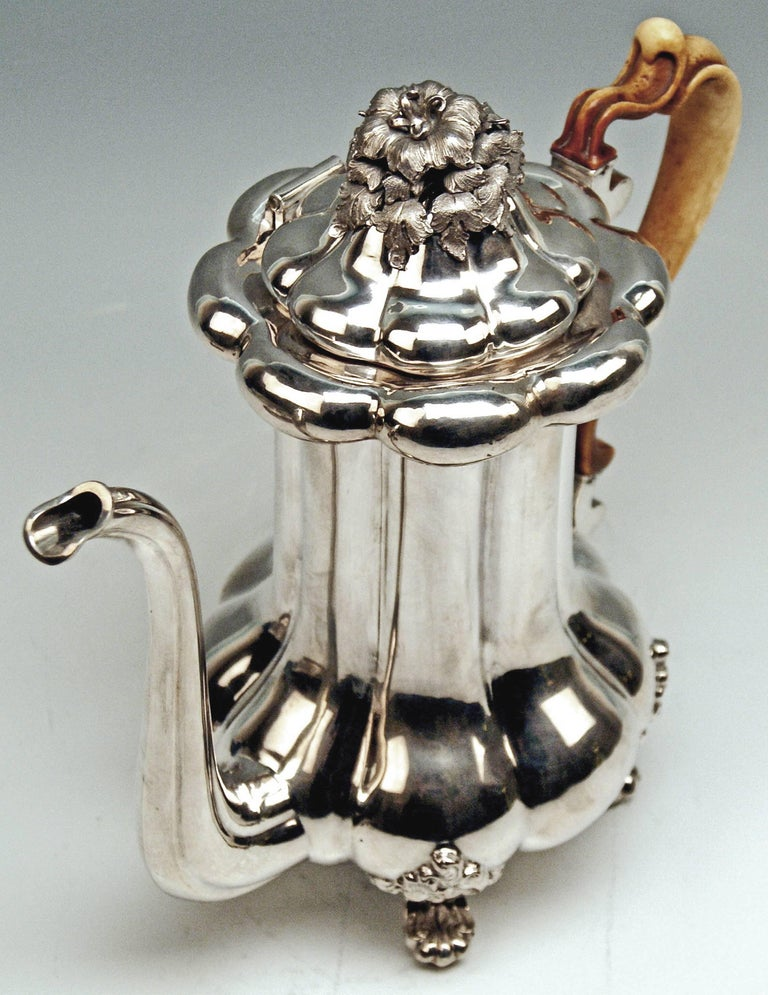 Silver 13 Lot Austrian Coffee Pot Vintage Vienna Karl Paltscho, 1853 For Sale 1