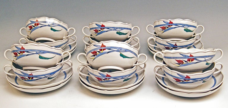 Porcelain Meissen Dinner Set Decor 701701 12 Persons Paradise Flowers by Heinz Werner For Sale