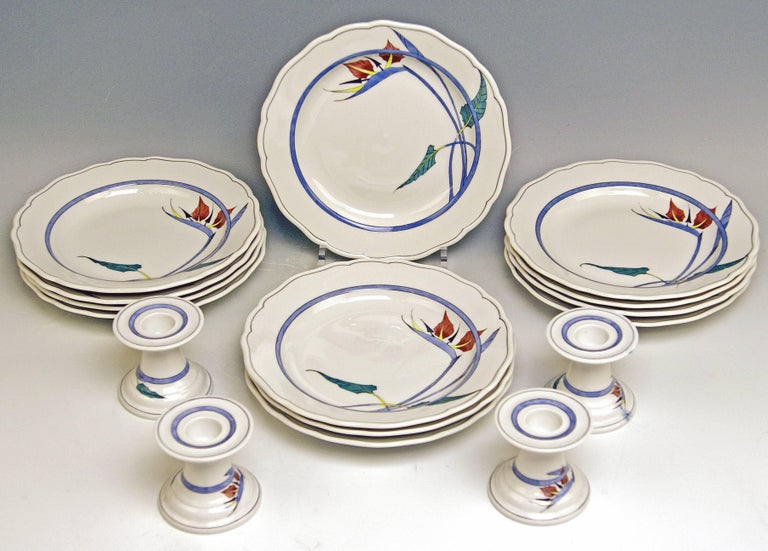 Late 20th Century Meissen Dinner Set Decor 701701 12 Persons Paradise Flowers by Heinz Werner For Sale