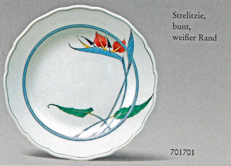 We invite you here to look at a splendid as well as rarest Meissen dinner set for 12 persons consisting of 67 pieces: White porcelain, multicolored painted with nicest modern flower pattern (Bird-Of-Paradise Flowers / DECOR NUMBER 701701), white