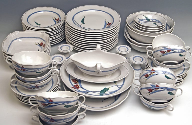 Modern Meissen Dinner Set Decor 701701 12 Persons Paradise Flowers by Heinz Werner For Sale