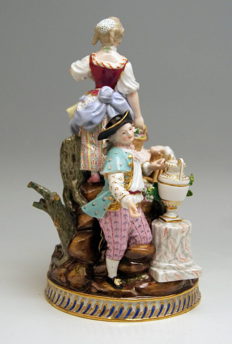 Glazed Meissen Gardener Figurines Model F 94 Michel Victor Acier made circa 1830-1840 For Sale